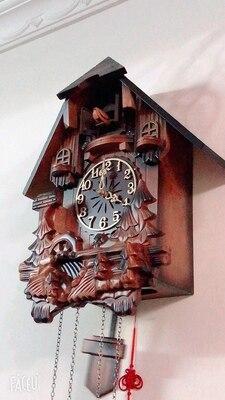 European wall clock smart music time pastoral wood carving children's creative living room clock cuckoo clock