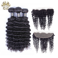 King Hair Deep Wave Peruvian Hair Weave Bundles With Lace Frontal Closure 4 Pcs /Lot Remy Human Hair 3 Bundles With Frontal