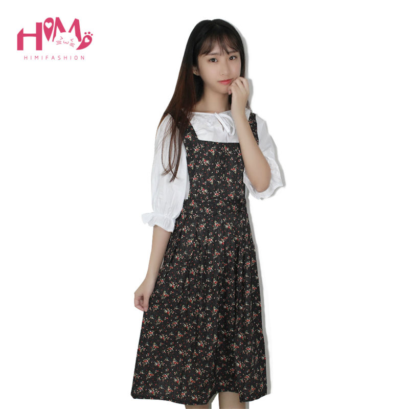 Spring Fashion Women Clothing Casual Loose Plus Size Dress Black Pink Flower Whiteflowers Print Cotton One-Piece Dresses Female