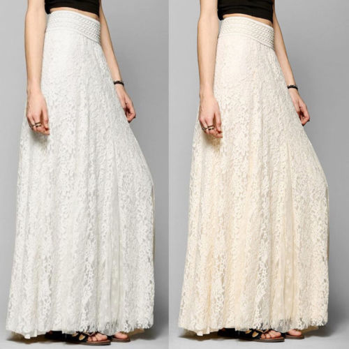 New Fashion Hot Sale Women High Waist Stretchy Double Lace Layer Chiffon Long Skirts Lady Summer Casual Wild Skirt Clothing S-XL