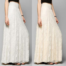 New Fashion Hot Sale Women High Waist Stretchy Double Lace Layer Chiffon Long Skirts