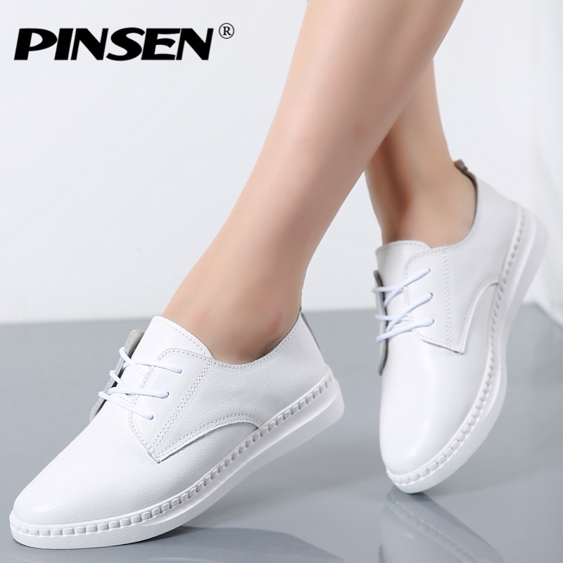 PINSEN 2017 Autumn Loafers Shoes Woman Genuine Leather Round Toe Lace-up Female Flat Shoes For Women Moccasins Slipony pinsen 2018 spring flat shoes women genuine leather solid slip on moccasins loafers shoes woman round toe ladies shoes creepers