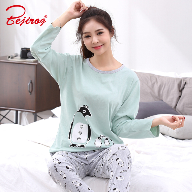 Bejirog long sleeve pajama set for women black striped sleepwear plus size  pyjama print nightwear nightdress eb6f126df