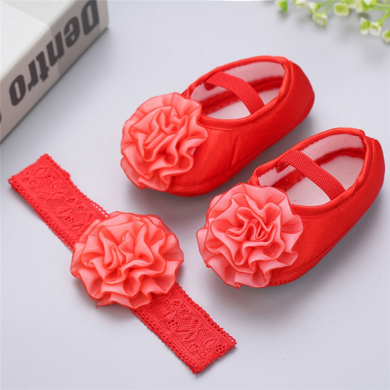 Lovely Infant Baby Toddler Kids Girls Crib Shoes Baby Shoes Photography Props Flower Princess First Walkers Headwear Prewalker