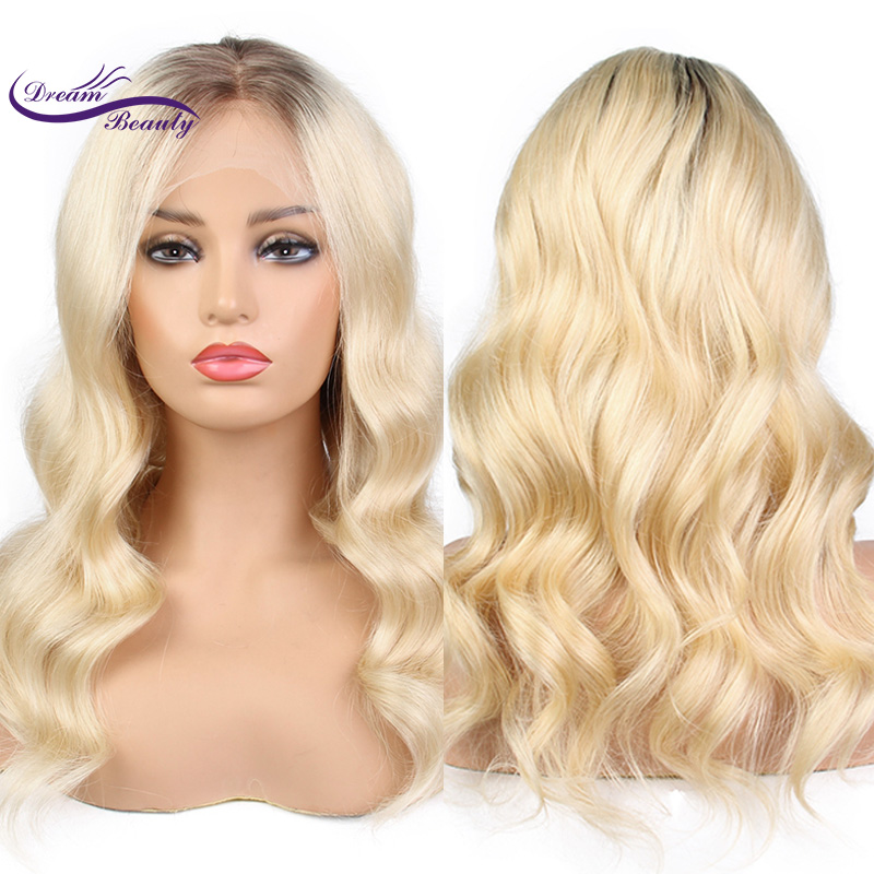 Dream Beauty Hair 4#/613# Blonde Ombre Two Tone Remy Peruvian Human Hair 130 150 180 den ...