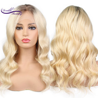 Dream Beauty Hair 4#/613# Blonde Ombre Two Tone Remy Peruvian Human Hair 130 150 180 density Lace front Wigs With Baby Hair