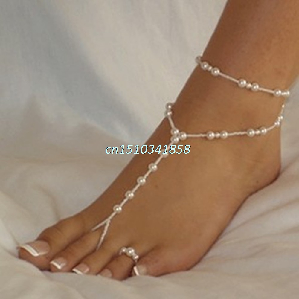 Elegant Women Pearl Chain Foot Harness Toe Ring Barefoot Sandal Beach Anklets #Y51#