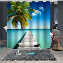 Custom Made Shower Curtain Bathroom Curtain Partition 1.5 x 1.8m 1.8 x 1.8m 1.8 x 2m Coconut Tree Sea Beach