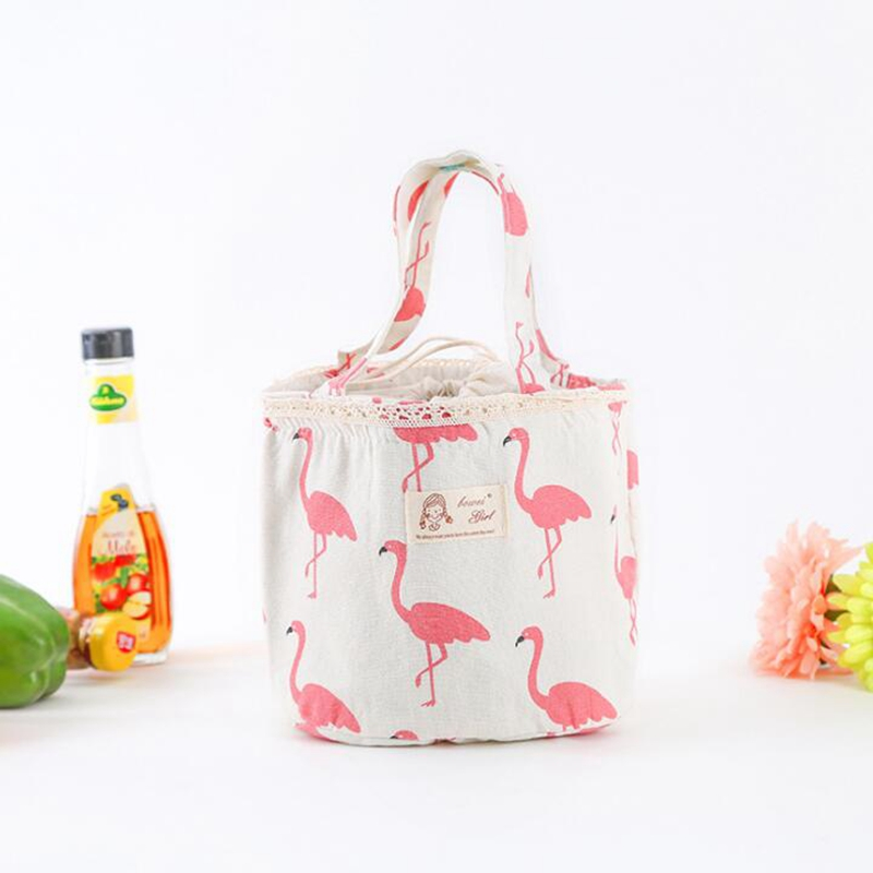 Cartoon Animal flamingo Cooler Bags Portable Insulated Leisure Lunch Bag Thermal Food Picnic Women Kids Girl Lunch Box Bag