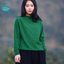 LinenAll clothing original design women's solid color 100% cashmere sweater female sweater pullover long-sleeve loose thin muyi