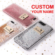 For iPhone 6 6S XS Max 7 7Plus 8 8Plus X Custom Personalized Name Glitter Sparkle Rose Gold Metal Plate Laser Engrave Phone Case