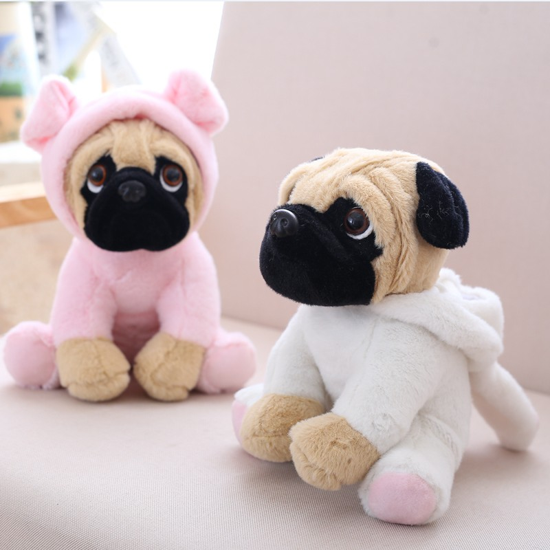 20CM Stuffed Simulation Dogs Plush Sharpei Pug Lovely Puppy Pet Toy Plush Animal Toy Children Kids Birthday Christmas Gifts simulation plush sleeping cat with sound lovely lifelike stuffed animal pet doll toy for children birthday gift decoration toy