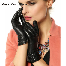 2014 Winter Warmen leather gloves British fashion lady sheepskin wrist colorful women Genuine