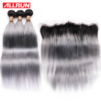 Похожие продукты предварительно Цветной человеческие волосы с фронтальной T1b серый бразильский Реми эффектом деграде (переход от темного к