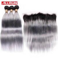 Allrun предварительно Цветной человеческих волос ткань с фронтальной T1b серый бразильский Реми Ombre 3 Связки с 13*4 Кружева Закрытие предложения