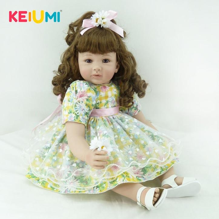 KEIUMI 24'' 60 cm Reborn Dolls Soft Vinyl Lifelike Princess Girl Simulation Doll Baby Toy For Kids Birthday Gift Early Education цена 2017