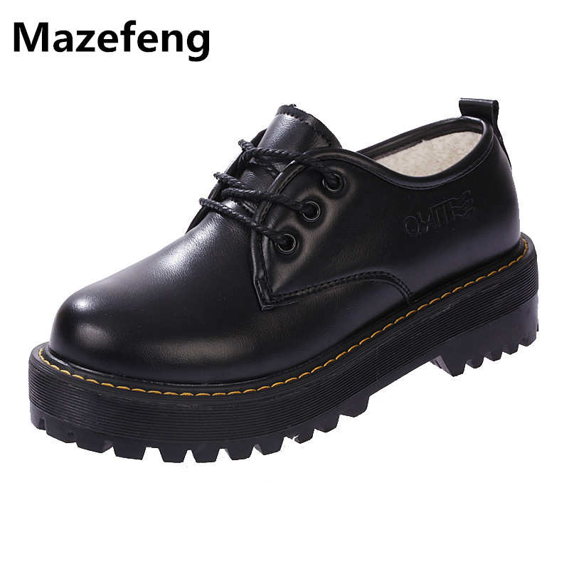 New Japanese School Uniforms Women Shoes Black Thick Bottom Leather Shoes Woman Superstar Zapatos Mujer PU Chaussure Femme A012