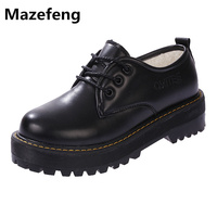 New Japanese School Uniforms Women Shoes Black Thick Bottom Leather Shoes Woman Superstar Zapatos Mujer PU