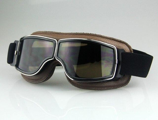 ac2152e0412b Freen shipping Cross-country Pilot Cruiser Motorcycle Bike Tactical ATV Goggle  Aviator Eyewear Genuine leather Brown Lens