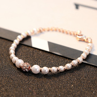 Luxury Fashion Women's Party Accessories Christmas Gifts Pearl Crystal Bracelet Jewelry Charm Bridal Wedding Jewelry