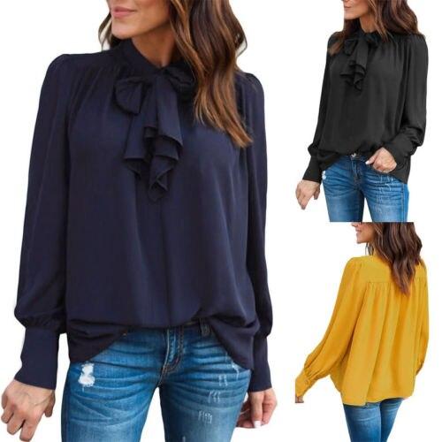 fd2788cc570 Fashion Summer Women Blouses Casual Chiffon Long Sleeve Ladies Shirt Women  Clothes Loose Top Blouse