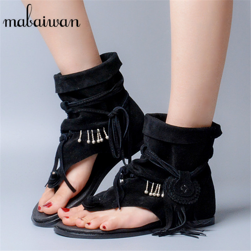 Summer Suede Gladiator Sandals Fringed Women Lace Up Flat Shoes Woman Casual Beach Shoes Woman Flip Flops Flats Sandalias Mujer phyanic 2017 gladiator sandals gold silver shoes woman summer platform wedges glitters creepers casual women shoes phy3323
