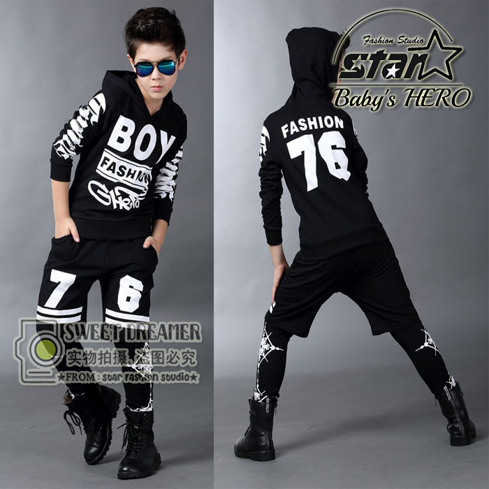 все цены на  Hip-Hop 2016 Children Fashion Street Dancing Clothing Boys Girls Streetwear Clothes Kids Casual Hoodies Harem Pants Twinset  онлайн