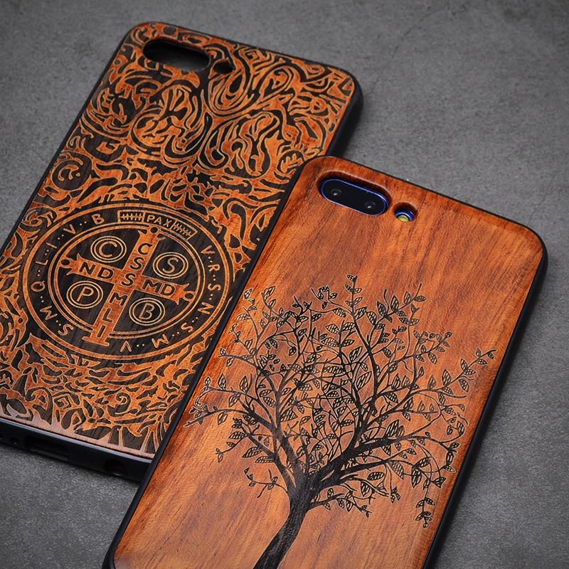 2018 nuevo Huawei Honor 10 caso Delgado cubierta trasera de madera TPU caso de parachoques para Huawei Honor 10 teléfono Honor10