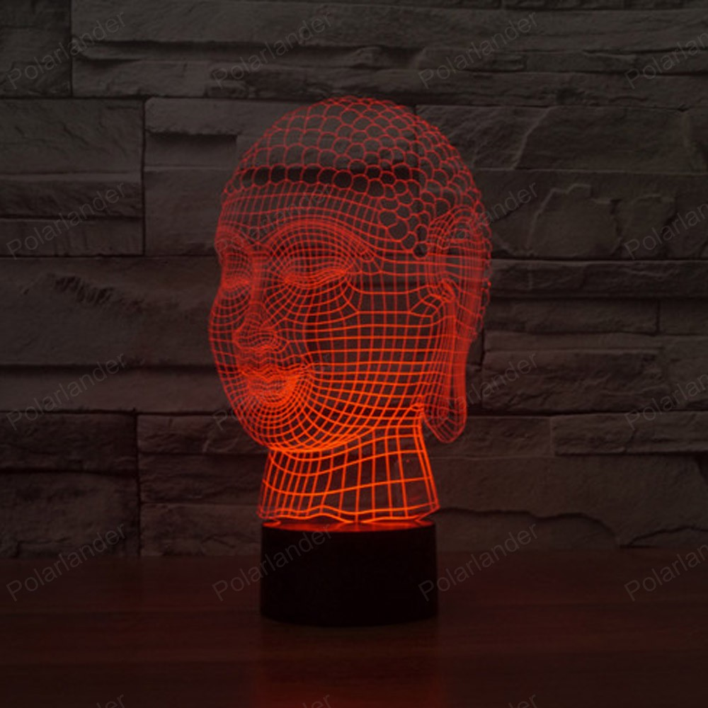 Buddha Night Light 7 Colors Changing 3D LED Touch Switch Table Lamp USB  Home Decor Colorful LED Lighting