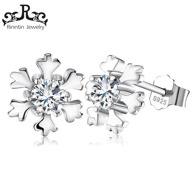 Rinntin 100% Sterling Silver Snowflake Orecchino Della Vite Prigioniera con Lucido CZ Zircone Cubico Romantic Orecchio Partito Gioielli per Le Donne Ragazza TSE12