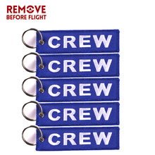 5pcs/lot Blue Crew Key Chain OEM Motorcycle Embroidery Ring Holder Chains llaveros Luggage Tag Aviation Gifts chaveiro