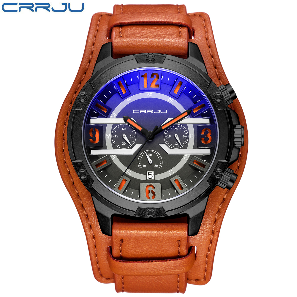 CRRJU Chronograph Vintage Men Watch New Fashion Genuine Leather Quartz Male Watches Top Brand Luxury Calendar Sport Wristwatch scientific and technological sense men watches waterproof calendar chronograph fashion quartz watches luxury wristwatch