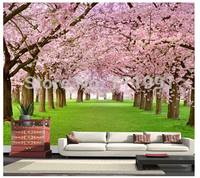 Free Shipping Custom Cherry Trees Large Mural Wallpaper Peach Bedroom To The Living Room TV Parados