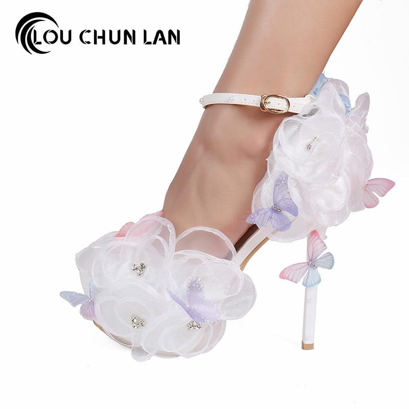 Escarpins blanc dentelle fleur strass chaussures de mariée papillon volant bout pointu ultra haut talons chaussures de mariage ceinture femme sandales
