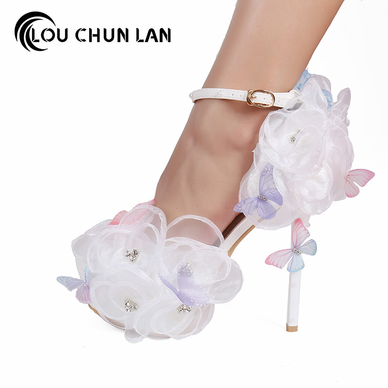 Pumps White Lace Flower Rhinestone Bridal Shoes Butterfly