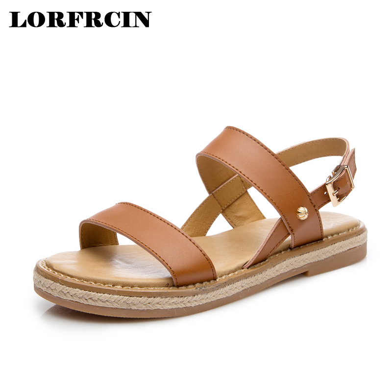 LORFRCIN 2017 New Gladiator Sandals Women Split Leather Summer Shoes Woman Beach Buckle Flats Casual Solid Platform Women Shoes phyanic 2017 gladiator sandals gold silver shoes woman summer platform wedges glitters creepers casual women shoes phy3323