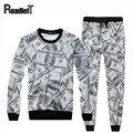 Мужчины/Женщины Любители Европа и Америка мода 3D доллар отпечатано jogger длинные капюшоном толстовка мужская crewneck повседневная костюм