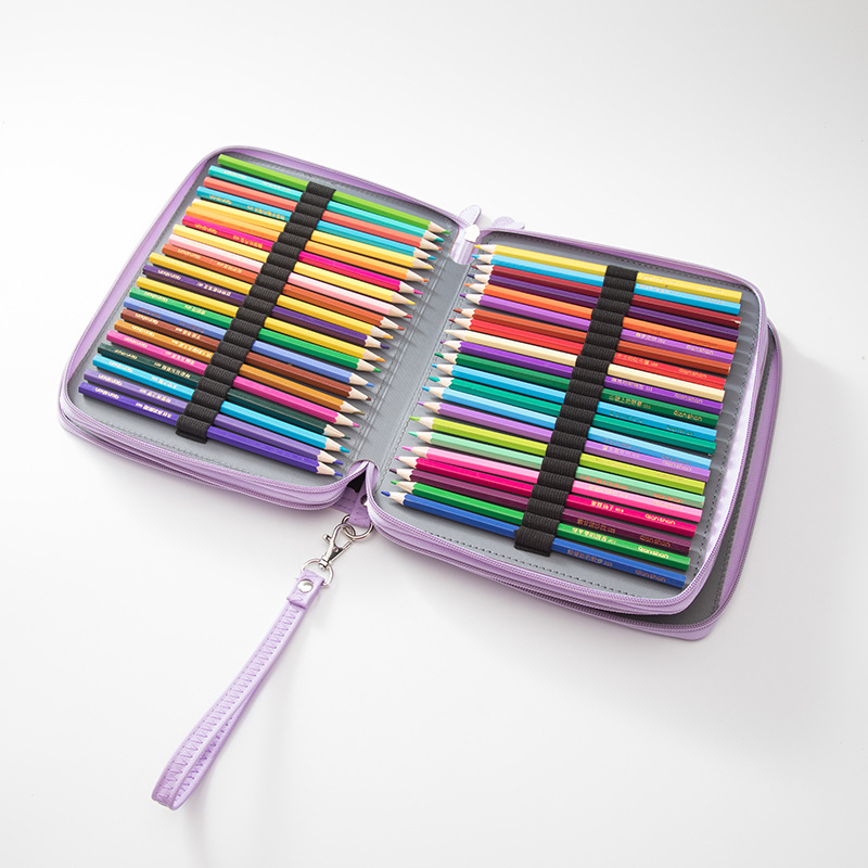 Image 3 - 124 holes Pencil Case stationery Large Capacity School office Gift pouch Art Markers pens box Painting Folding box set with belt-in Pencil Cases from Office & School Supplies