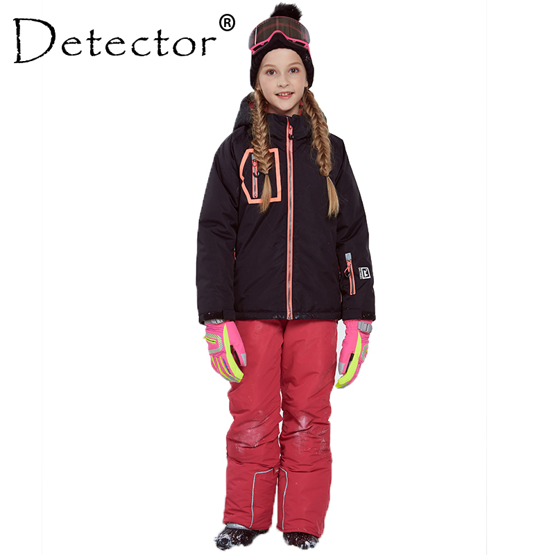 Detector Girl Winter Windproof Ski Jacket and Pant Warm Skiing Suit Outdoor Children Clothing Set Kids Snow Sets For Boys Girls detector girls ski set children waterproof windproof clothing kids ski set winter warm snowboard outdoor girl ski jacket