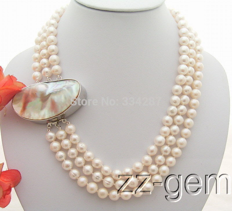 charm accessory choker shone> 3Strds 9MM White Pearl Necklace-Natural Mabe Claspcharm accessory choker shone> 3Strds 9MM White Pearl Necklace-Natural Mabe Clasp