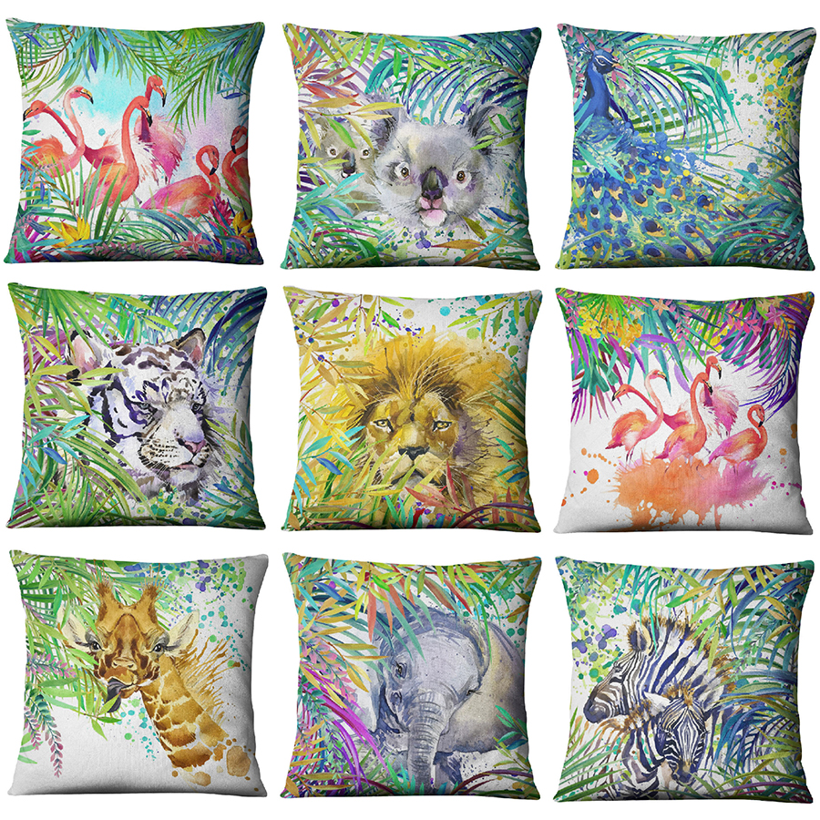 Hand painted Watercolor Printed Linen Cushion Cover  Animals Plants Flamingo Giraffe Throw Pillowcase Home Decor Sofa Decoration-in Cushion Cover from Home & Garden