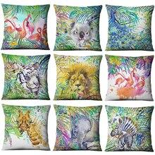 Hand-painted Watercolor Printed Linen Cushion Cover  Animals Plants Flamingo Giraffe Throw Pillowcase Home Decor Sofa Decoration все цены
