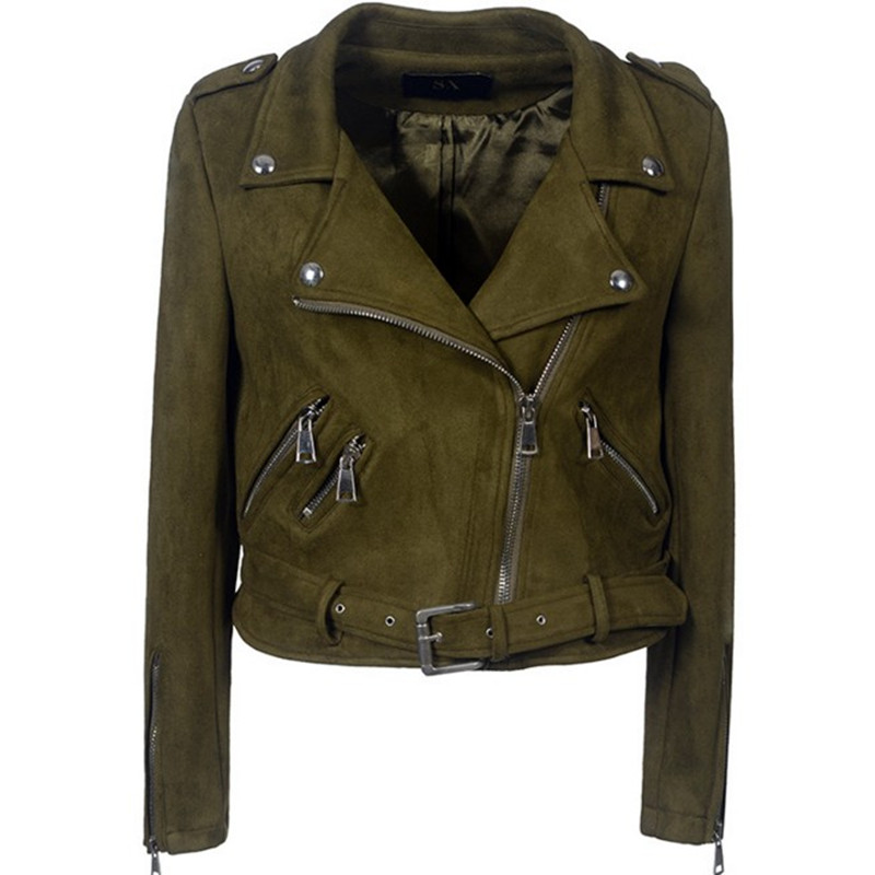 2018 Women Spring Autumn Winter   Suede   Faux   Leather   Jackets Fashion Motorcycle Basic Coat Female Slim Fit Biker Casual Outerwear
