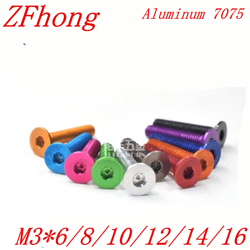 10pcs Aluminum screw DIN7991 M3*6/8/10/12/14/16 Aluminum hex socket countersunk head screw 50pcs m3 6 8 10 12 colourful aluminum