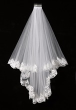 Elegant White/Ivory Two Layers Tulle Net Tulle Bride Veil 1.5m Long Lace Edge Tulle Veil For Wedding New Free Shipping SLV002