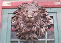 Chinese Pure Bronze HSBC Lions Head Wall Hang Family Decor Art Sculpture
