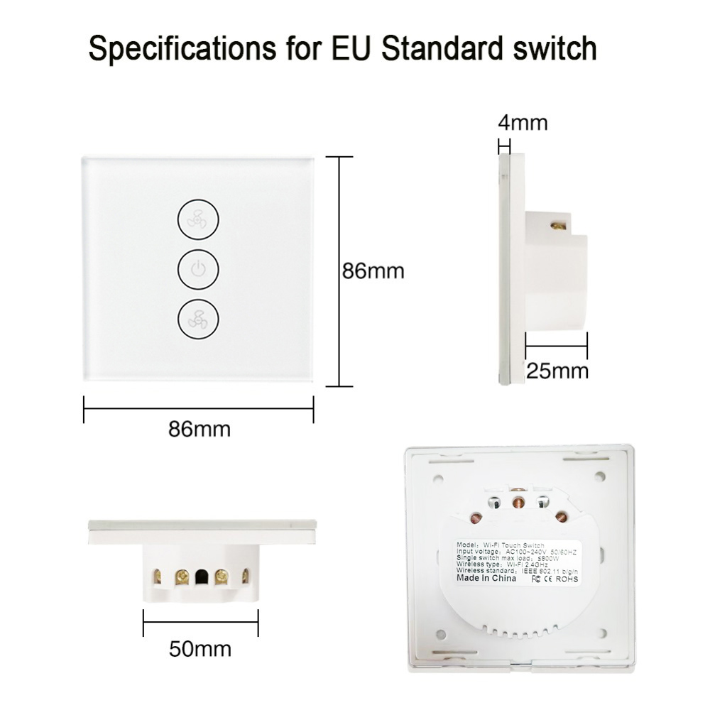 EU US WiFi Smart Ceiling Fan Switch APP Remote Timer and Speed Control Compatible with Alexa and Google Home No Hub Required in Smart Remote Control from Consumer Electronics