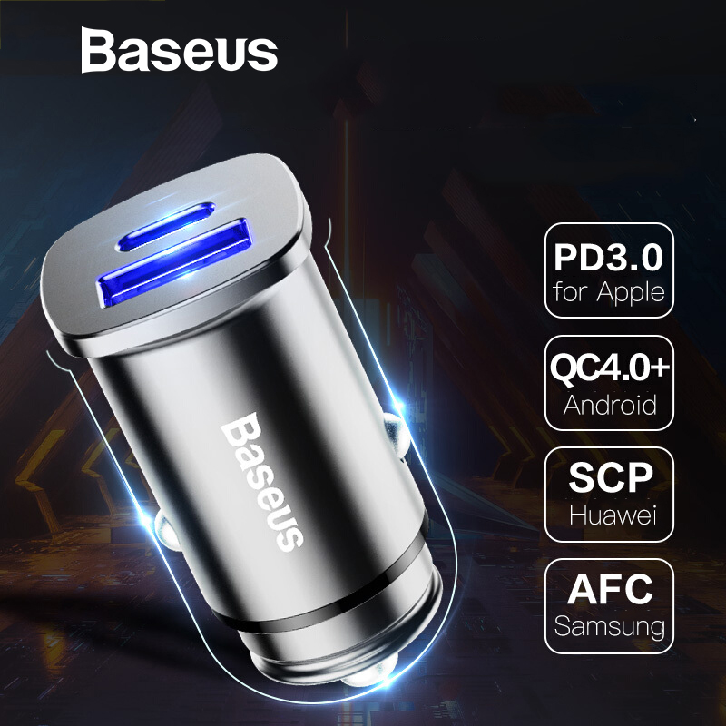 Baseus 30W USB Type C PD Quick Charge 4.0 3.0 Car Charger For <font><b>Huawei</b></font> <font><b>Supercharge</b></font> SCP Mobile Phone Charger Fast Car Phone Charger image