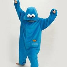 Купить с кэшбэком Animal Cartoon Sesame Street Boys and Girls Conjoined Pajamas Adult Jumpsuit Shark Cosplay Dinosaur Couple Animal Jumpsuit