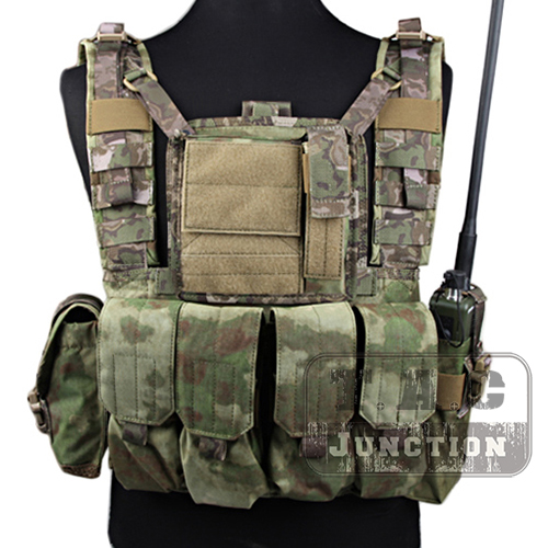 Emerson Tactical MOLLE Rhodesian Reconnaissance Vest RRV Chest Rig Arid Foliage Panel Plate Carrier with Pouches
